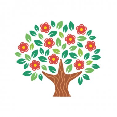 Stylized flowering tree. Vector illustration.