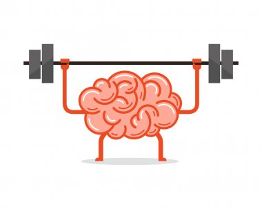 Train your brain. Vector illustration.