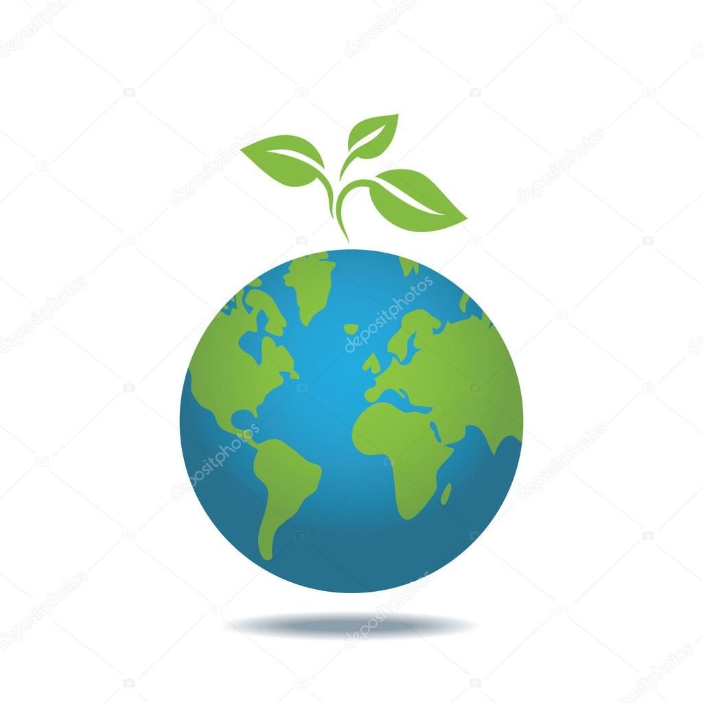 Eco icon of green leaves on a planet. Ecology concept.