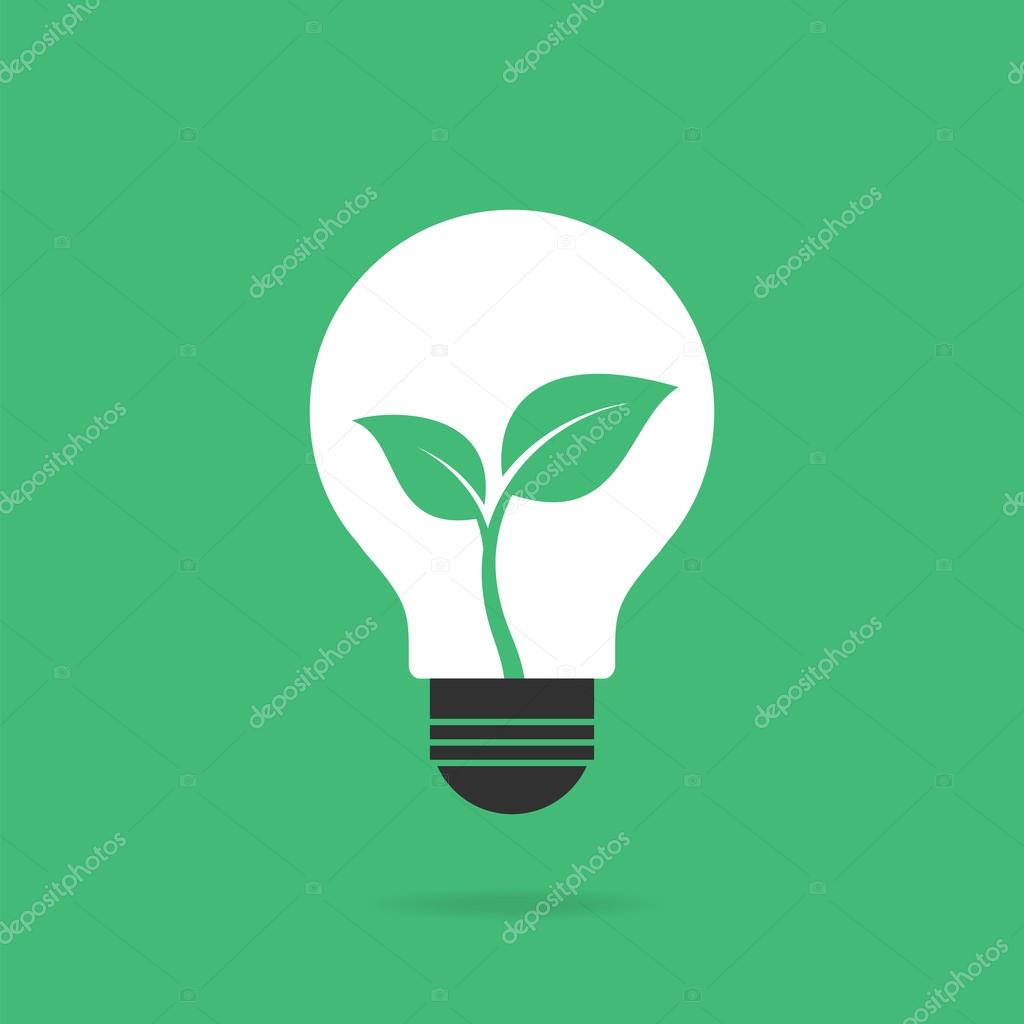 Bulb with leaves inside. Eco concept.