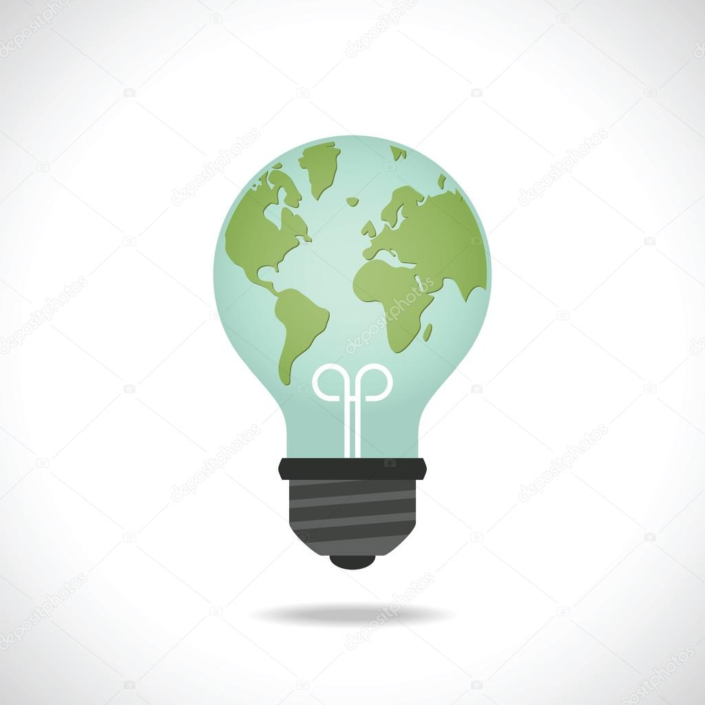 Ecology and saving energy icon with light bulb and planet Earth.