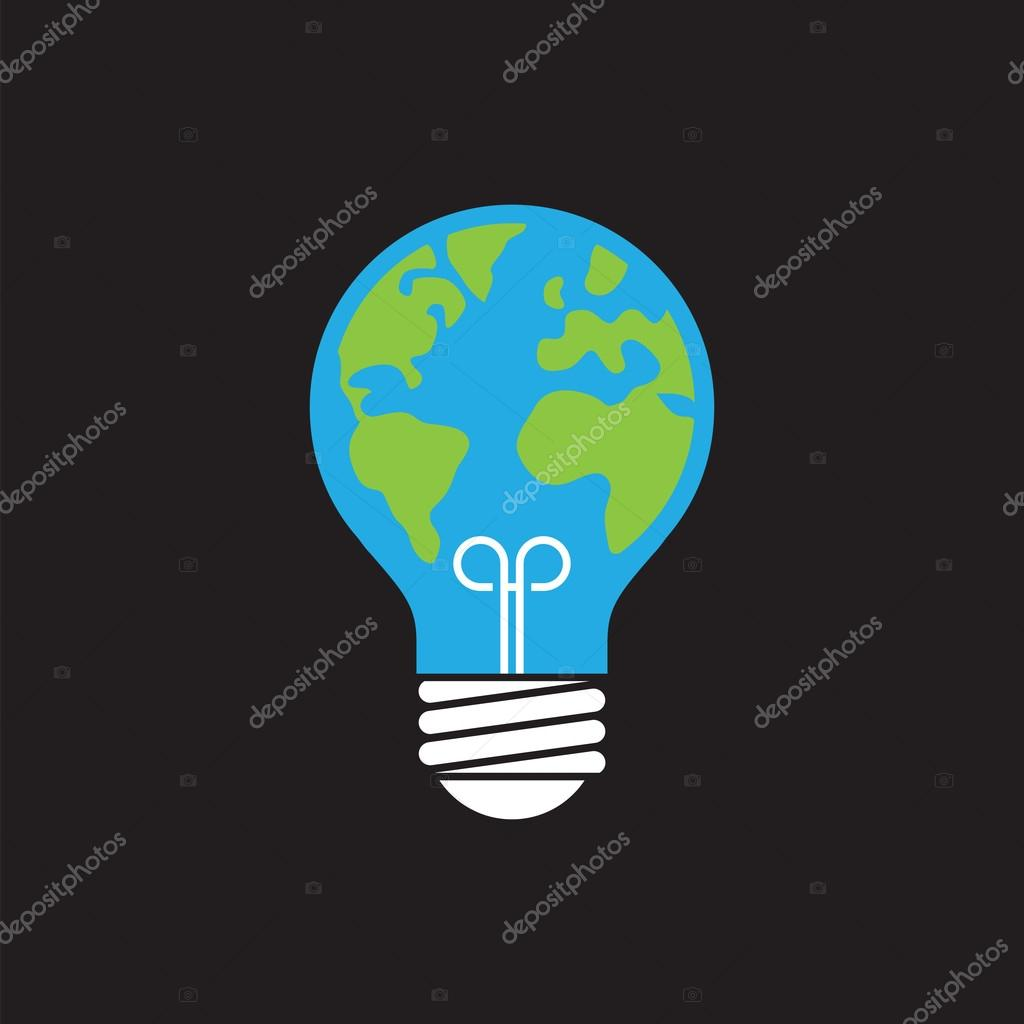 Ecology icon with light bulb and planet Earth.