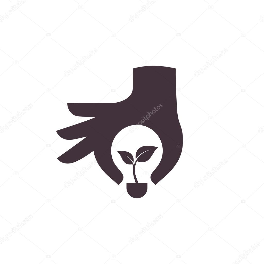 Hand with green ecology bulb, vector icon.