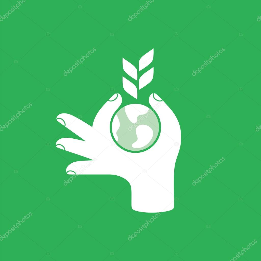 Hand with globe and plant. Save the earth concept.