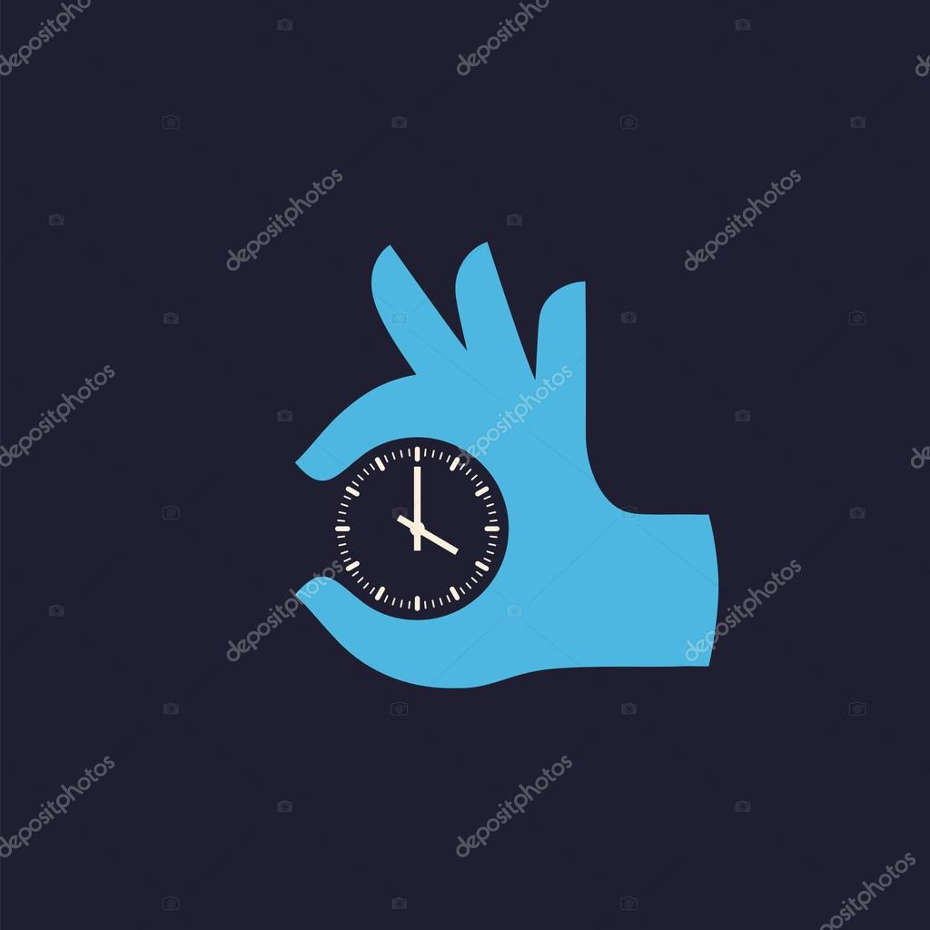 Hand and clock. Vector icon.