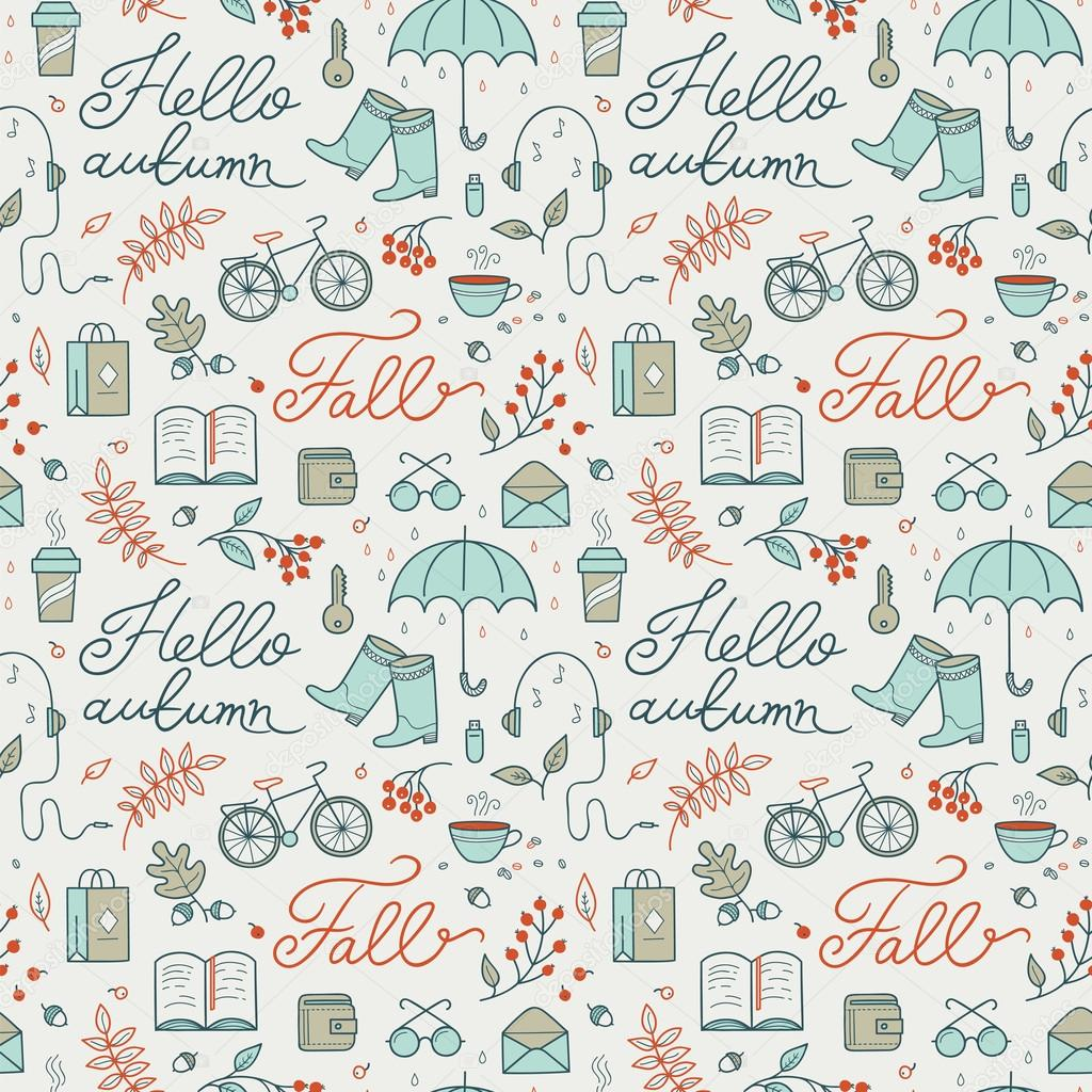 Seamless vector pattern: Hello autumn.