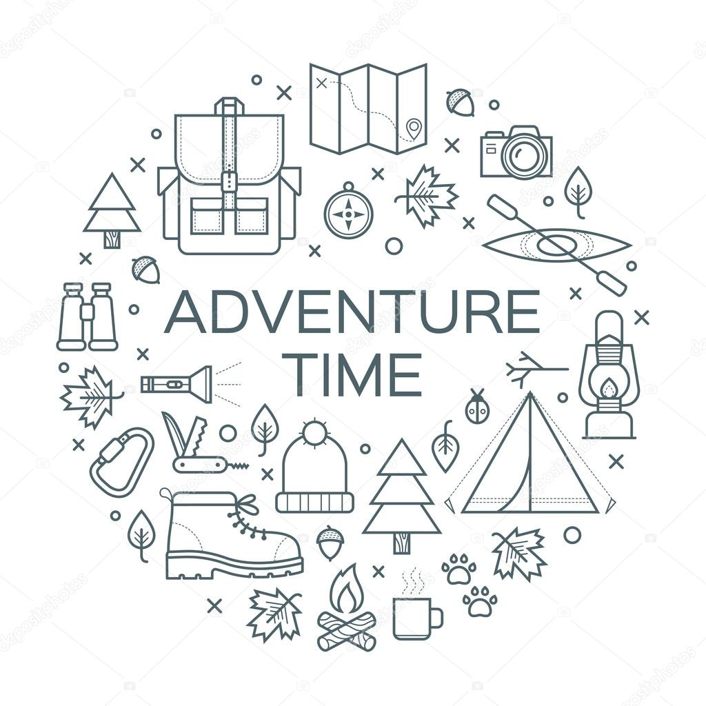 Adventure time. Set of camping equipment symbols and icons.