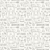 Ručně tažené bezešvé vzor s ikonami dobrodružné cestování.