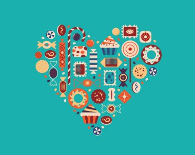 Vector illustration of heart with candies.