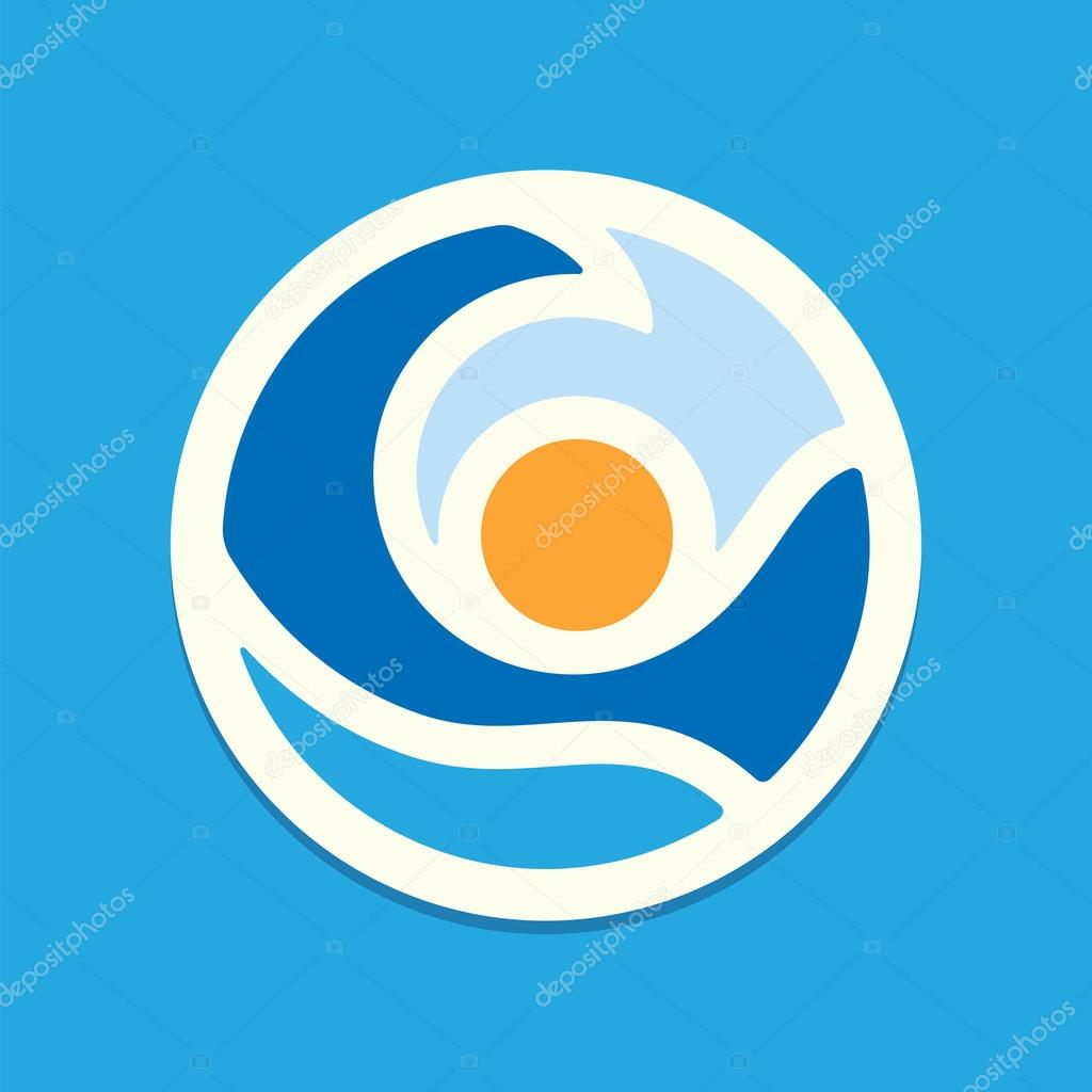 Sun and sea wave. Vector icon.
