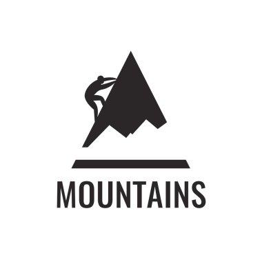 Mountain climber. Vector icon.