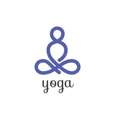 Yoga lotus pose, stylized vector icon.