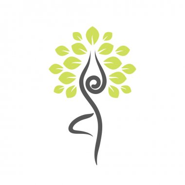 Yoga emblem with abstract tree pose.