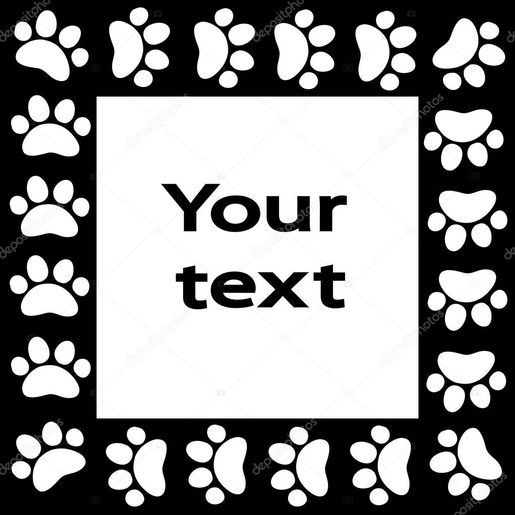 Gato o perro pata marco de impresiones para el fondo del texto ...