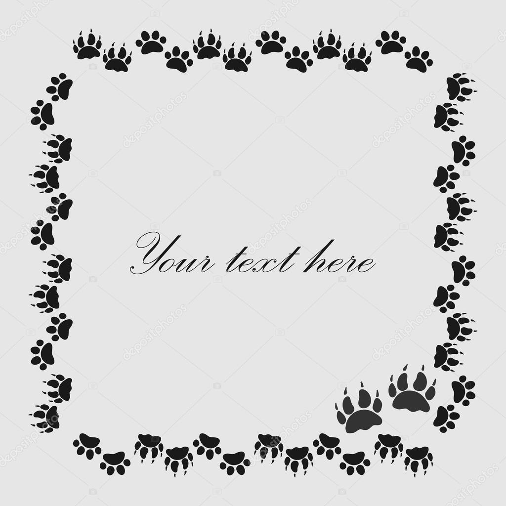 Cat Or Dog Paw Prints Frame For Your Text Background Vector Stock