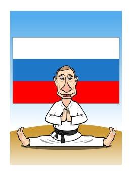 Putin Vladimir. Sits on a twine. EPS