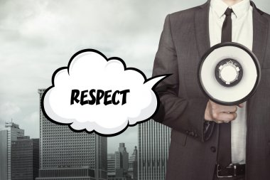 Respect text on speech bubble with businessman