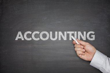 Accounting word on black blackboard