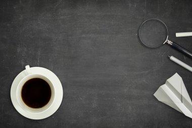Black blank blackboard with coffee cup