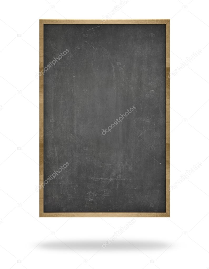 Black blank vertical blackboard with wooden frame — Stock Photo ...
