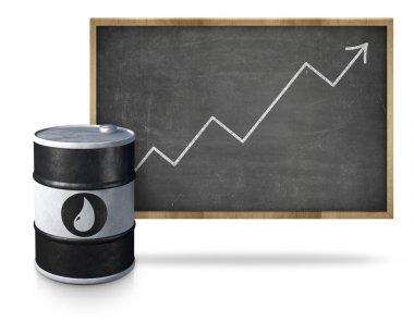 Oil price heading upwards on blackboard with oil barrel