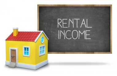 Rental income text on blackboard with 3d house