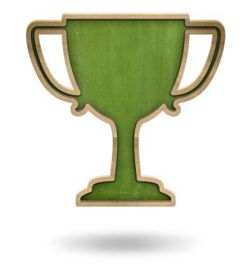 Green winner cup shape blackboard