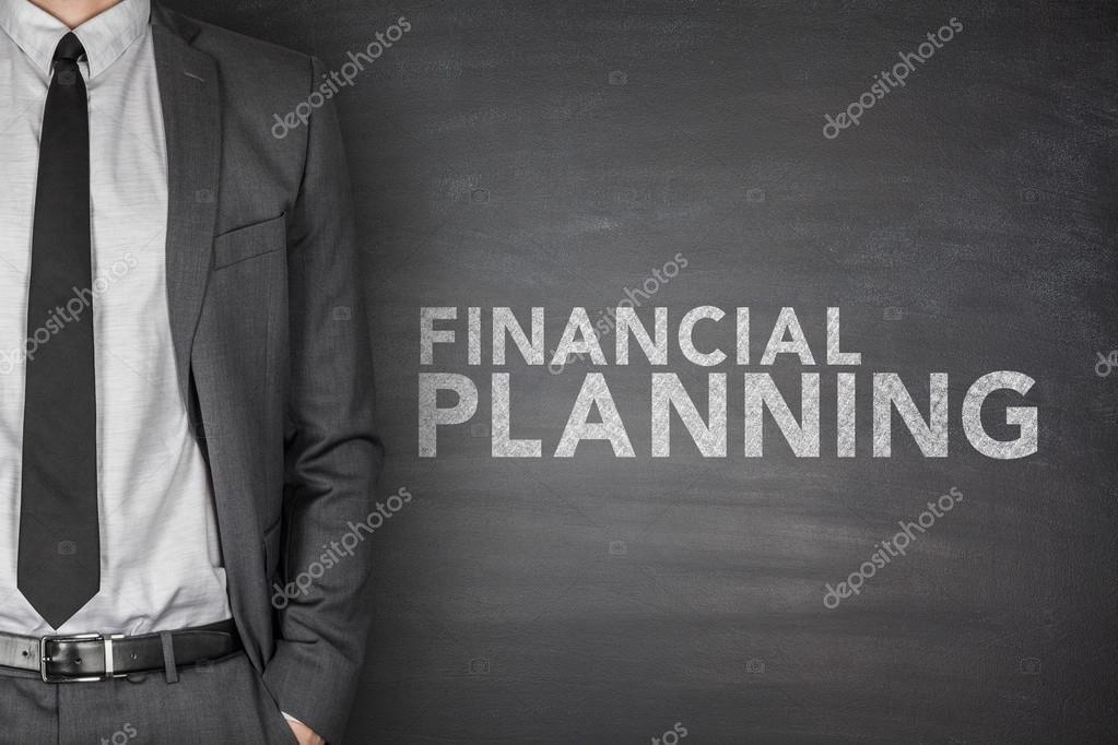 Financial planning text on black blackboard