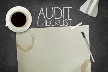 Audit checklist concept on blackboard with empty paper sheet