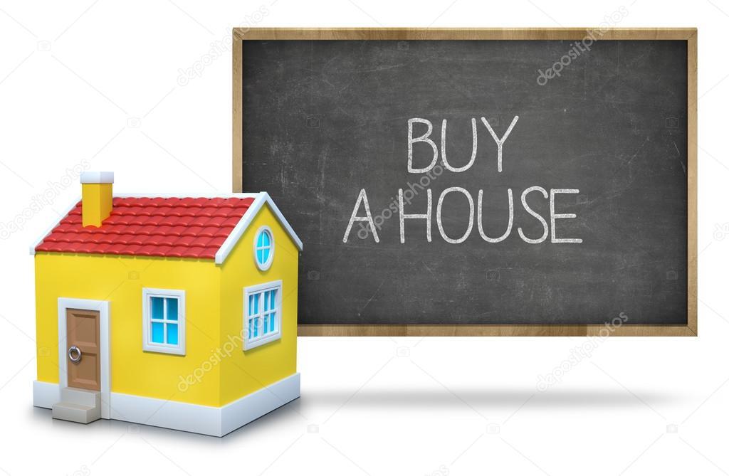 Ein Haus Auf Blackboard Mit 3d Haus Kaufen U2014 Stockfoto