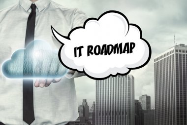 IT roadmap text on cloud computing theme with businessman