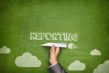 Reporting concept on blackboard with paper plane