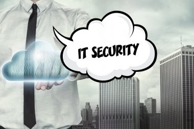 IT security text on cloud computing theme with businessman