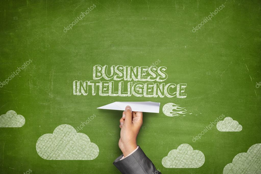Business intelligence concept on blackboard with paper plane