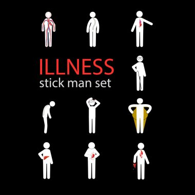 illness stick man set