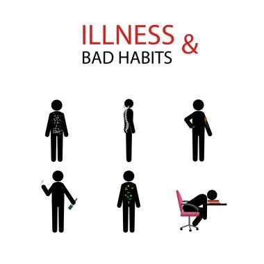 illness and bad habits stick man set