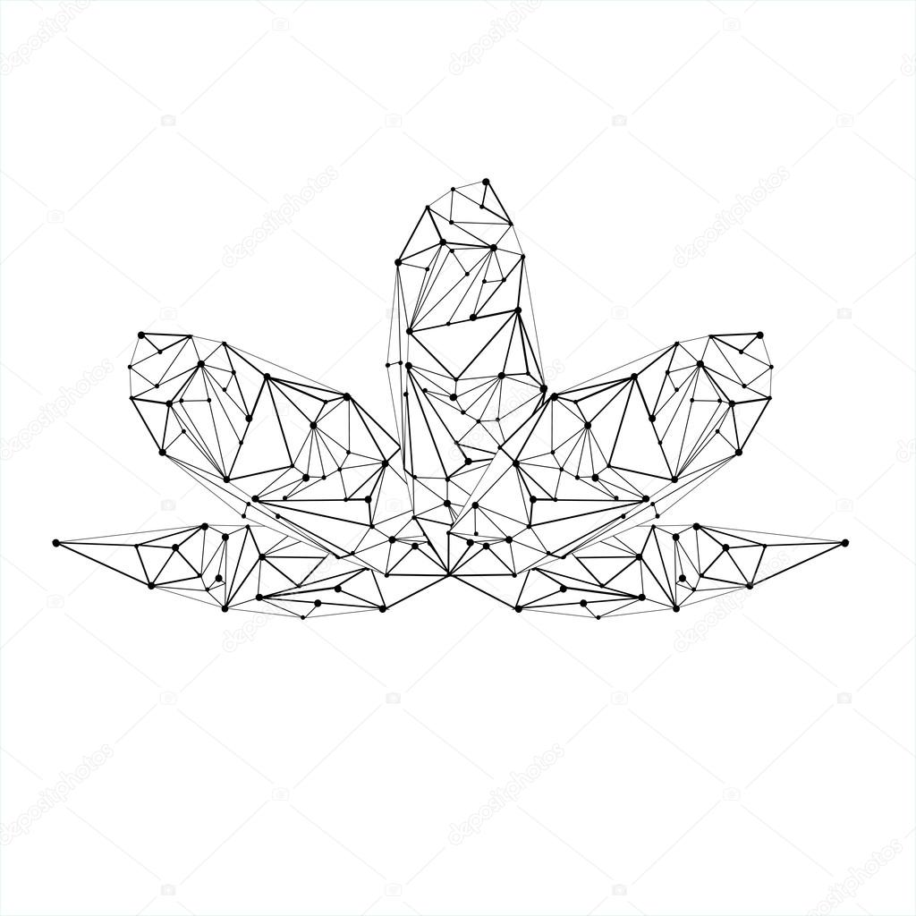 Line Low Poly Lotus Stock Vector
