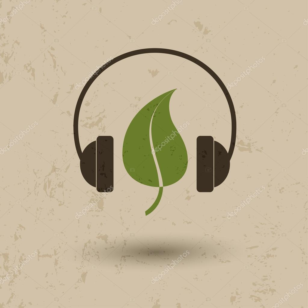 Leaf and headphones icon