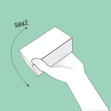 tilt and shake hand and box