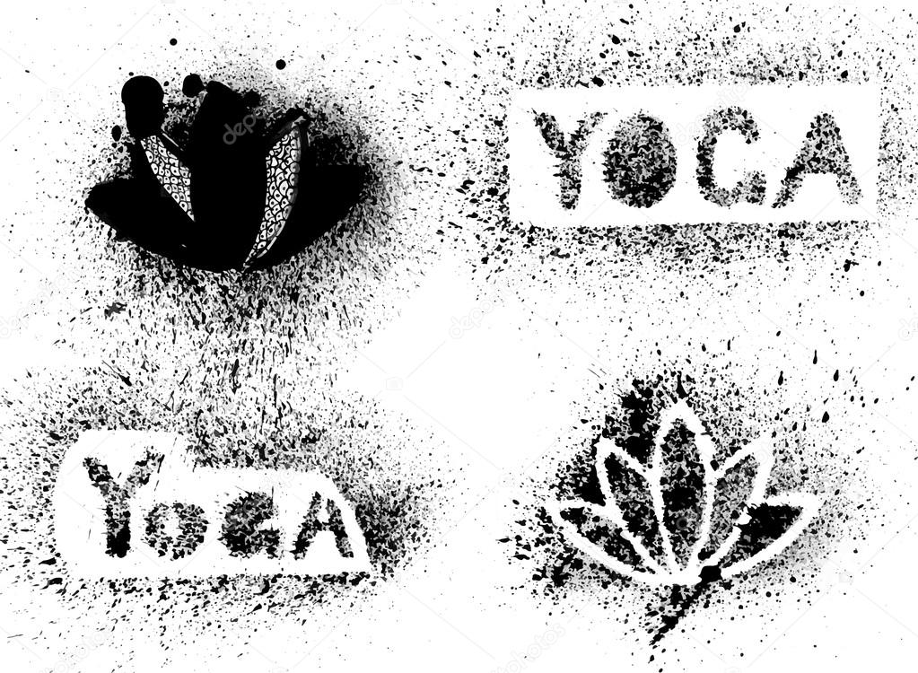 stencil yoga inscription and lotus