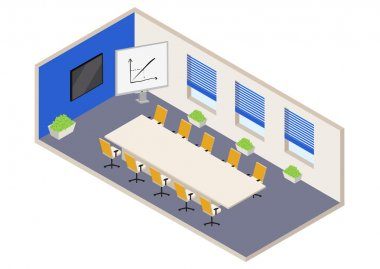 isometric white and blue office