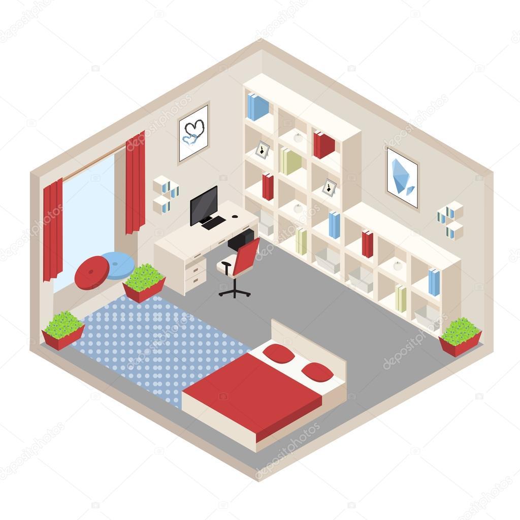 isometrica camera da letto bianca e rossa — Vettoriali Stock ...