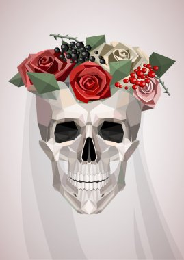 skull with wreath and veil