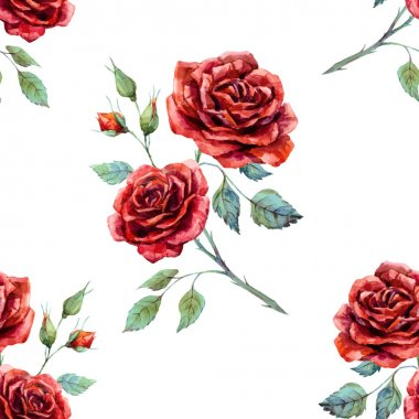 Watercolor rose pattern