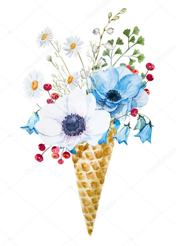Wafer cone with flowers