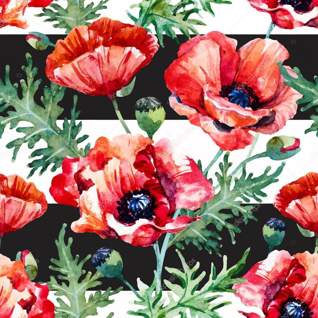 watercolor poppy flower pattern stock vector zeninaasya 110995324