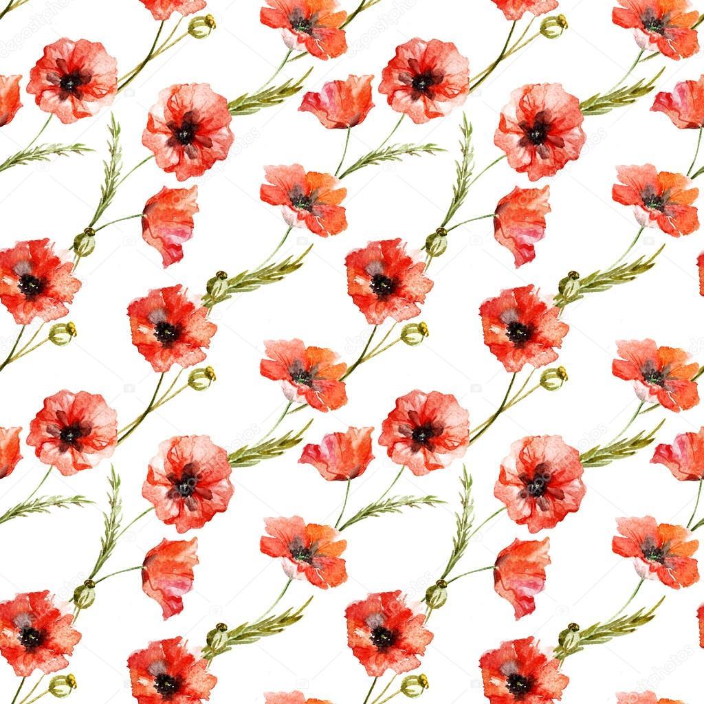 Watercolor poppy flowers pattern