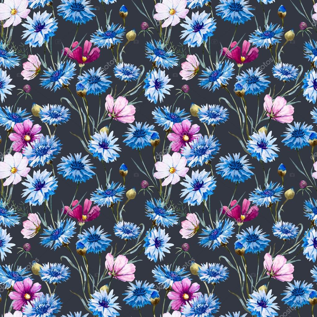 Cornflower watercolor pattern