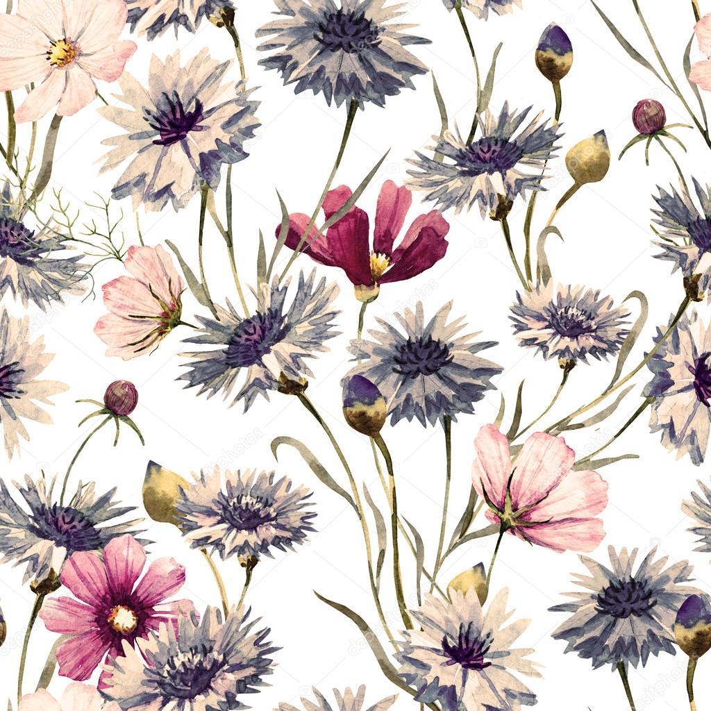 Cornflower watercolor pattern