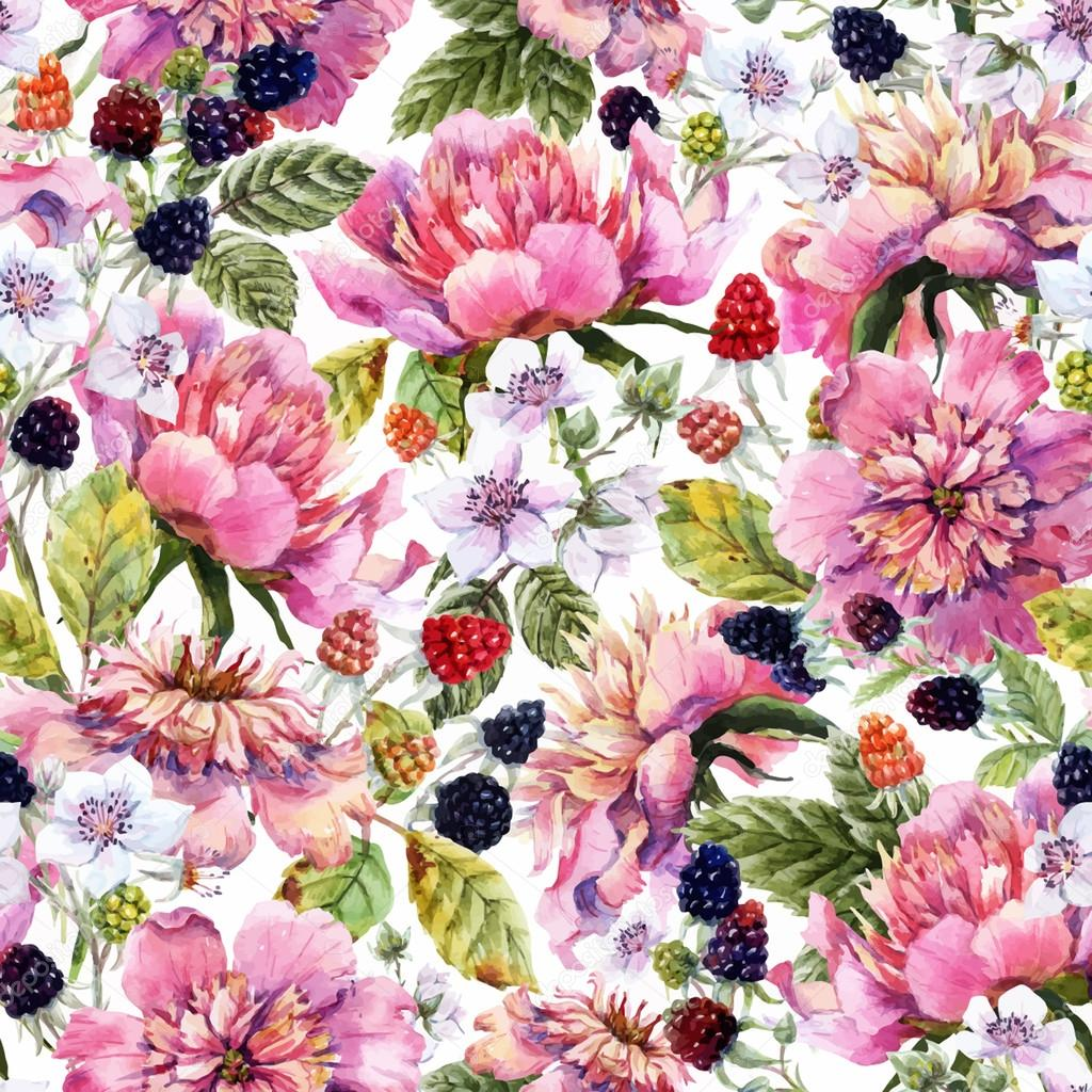 Watercolor peony and berry pattern
